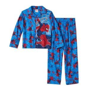 Spider-Man Boy's 2 Pc Button Up Blue Fleece Pajama